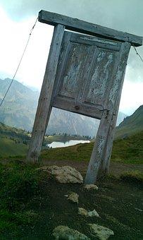 Door, Mountains, Old, Wood, Landscape, Door Opening