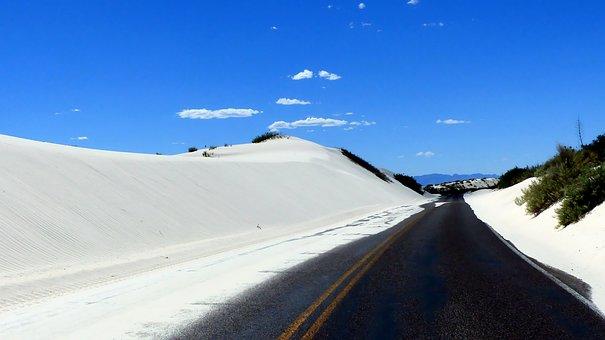 Desert, Sand, White, Gypsum, Dunes, Road, Nature, Hot