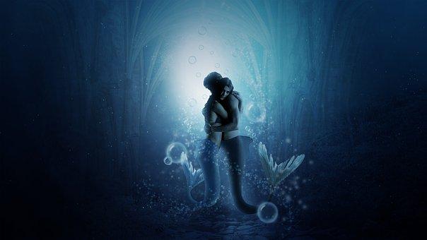 Mermaid, Underwater, Sea, Couple, Embrace, Fantasy