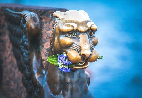 Griffin, Sculpture, Art, Flower, Good, Statue, Bronze