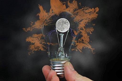 Light Bulb, Hand, Moon, Keep, Idea, Energy, Light, Pear