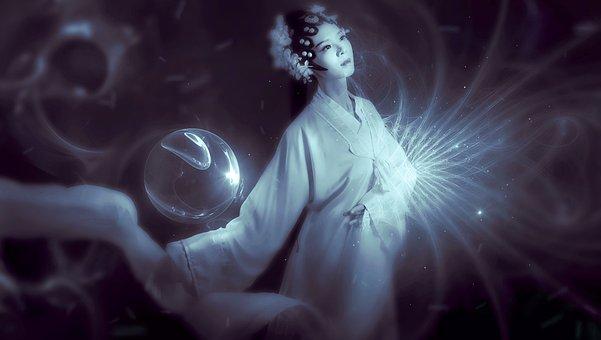 Fantasy, Asian Girl, Light, Mystical, Artfully, Sensual