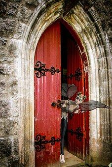 Fantasy, Door, Fee, Look, Door Opening, Arch, Composing