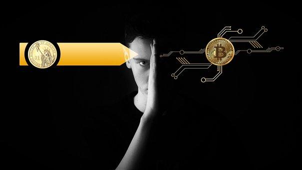 Digitization, Currency, Bitcoin, Dollar, Old, New
