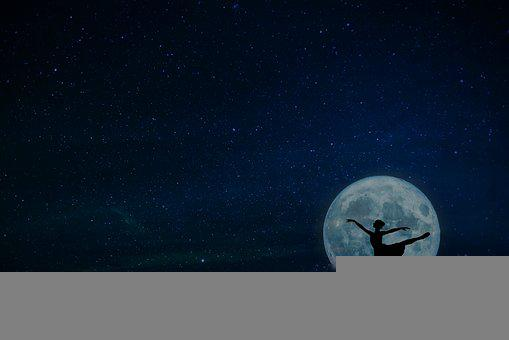 Ballerina, Luna, Night, Sky, Dancer, Woman, Fantasy