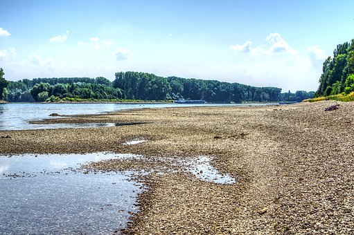 Rhine, River, Low Tide, Waters, Drought, Sandbar