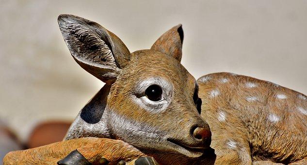 Roe Deer, Kitz, Figure, Decoration, Deco, Cute, Plastic