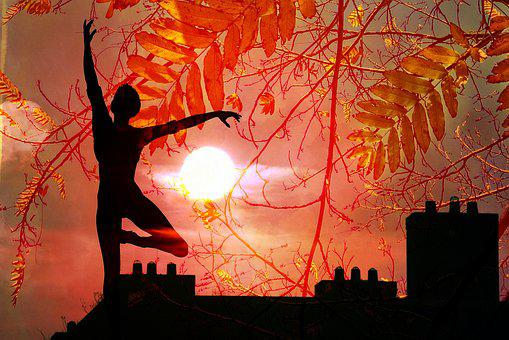 Dancer, Roof, Chimney, Sunset, Sun, Glow, Silhouette
