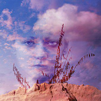 Woman, Face, Portrait, Eye, Stare, Skies, Clouds, Sand