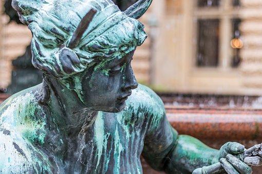 Statue, Hamburg, Town Hall, Sculpture, Woman
