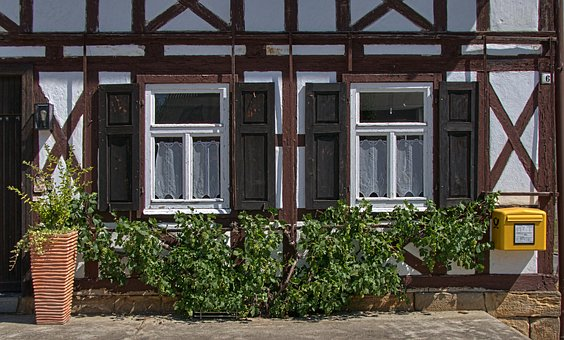 Fachwerkhaus, Facade, Window, Farmhouse, Shutters