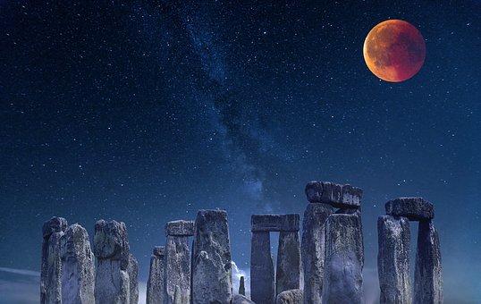 Stonehenge, Ancient, Night, Stars, Milky Way, Moon