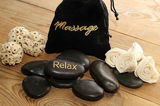 Massage, Stones, Black, Relax, Bag, Wood, Flowers, Deco