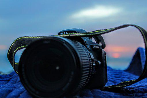 Camera, Strap, Sunset, Beach, Blanket, Nature, Blue