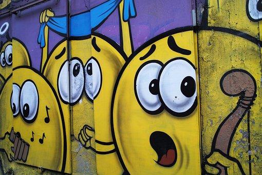 Funny, Graffiti, Istanbul, Street, Turkey, Yellow, Face