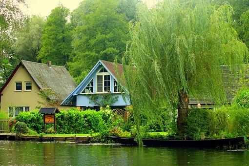 Cottages, Water, Landscape, The Brook, Channel, Summer
