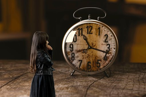 Clock, Girl, Child, Thoughtful, Wait, Impatient, Time