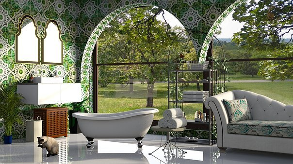 Bath, Bathroom, Green, Tile, The Interior Of The, Net