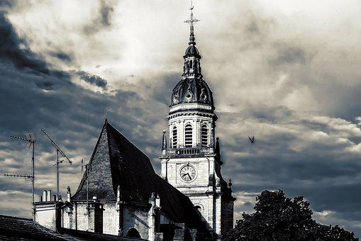 Church, Tower, Sky, Clouds, Gloomy, Architecture