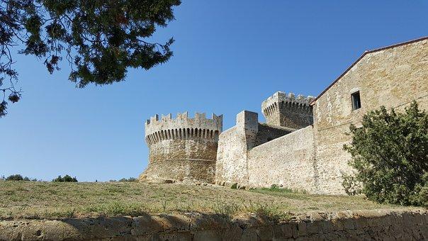 Tuscany, Populonia, Piombino, Castle, Europe, Italy