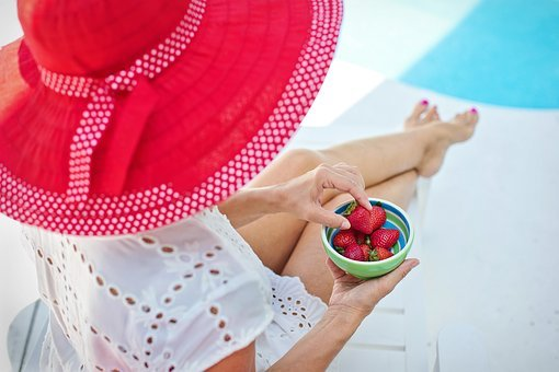 Summer, Poolside, Red Hat, Strawberries, Vacation