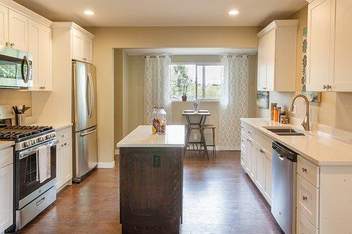 Kitchen, White Cabinets, Stainless Steel, Island