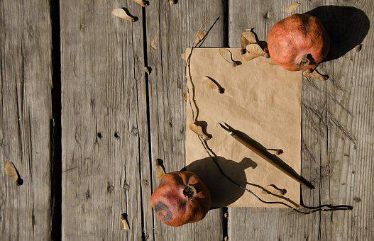 Fall, Autumn, Leaves, Paper, Old, Pomegranate, Nature