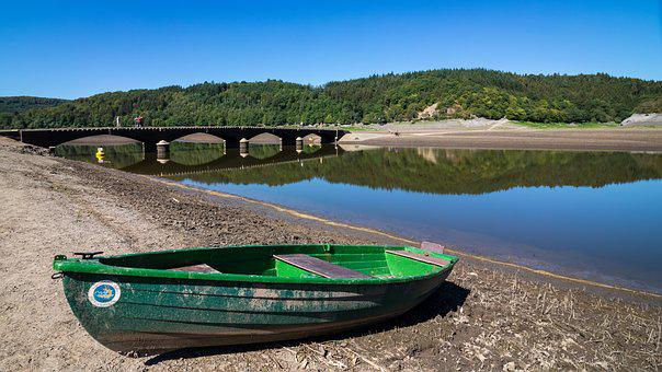 Edersee, Boat, Bridge, Asel, Lack Of Water, Summer Heat