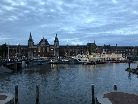 Amsterdam, Central, Train, Station, Holland, Building