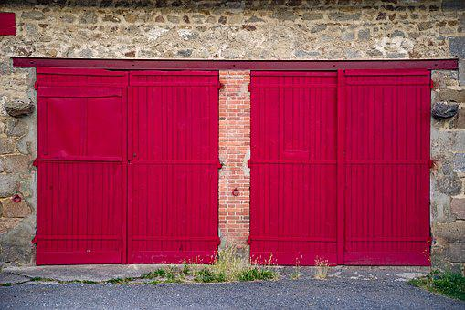 Gate, Door, Farm, Barn, Red, Old, Country, France