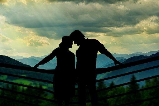 Couple, Silhouette, Landscape, Love, Lovers, Man, Woman