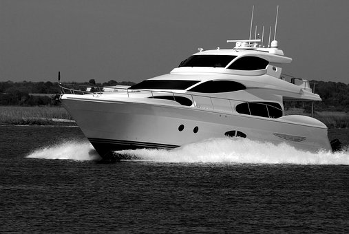 Luxury Yacht, River, Water, Cruising, Boat, Monochrome