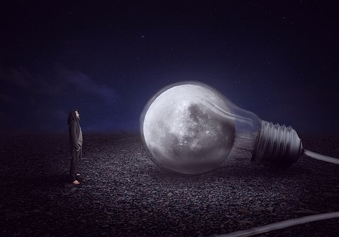 Moon, Lamp, Story, Fiction, Cord, Night, Darkness, Dark