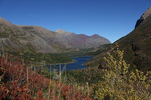 Glacier, Mountain Lake, Fall, Blue