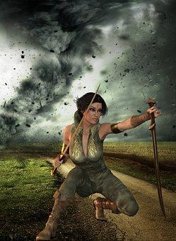People, Adult, Woman, Hurricane, Storm, Sword, Warrior
