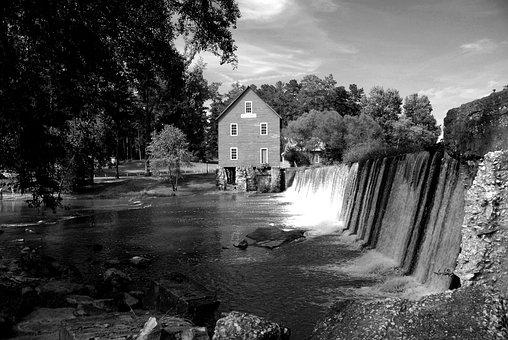 Starr's Mill, Landscape, Nature, Water, Falls, Usa, Dam