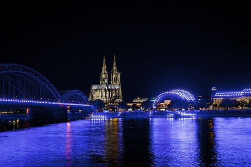 Cologne, Night, Light It Up, Lights, Dom, Germany, Blue