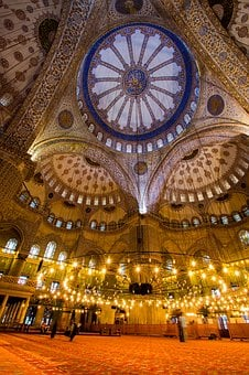 Interior, Light Up, Mosque, Turkey, Istanbul, Old City