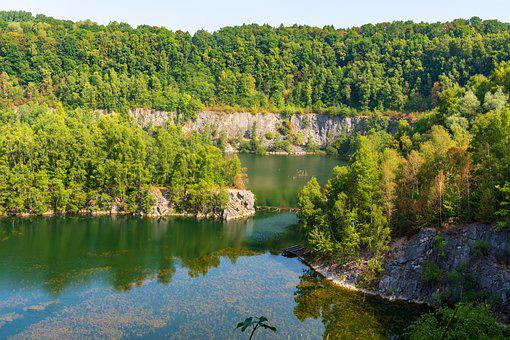 Quarry, Stretch, Limestone, Landscape, Lake, Nature