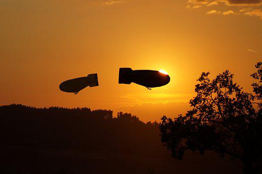 Montgolfiade, Airship, Flying, Abendstimmung, Sunset