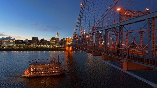 Cincinnati, Ohio River, Bridge, Sunset, Blue Hour, Ship
