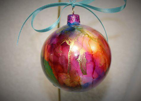 Alcohol Ink, Christmas Ornament, Ornament