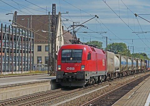 Railway, Container Train, Electric Locomotive, öbb