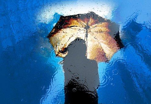 Woman, Girl, Rain, Water, Umbrella, Wet, City