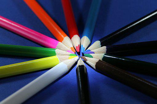 Colored Pencils, Red, White Blue, Pink, Yellow, Green