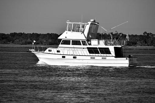 Luxury Yacht Cruising, River, Florida, Usa, Boat