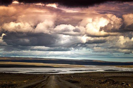 Clouds, Way, Iceland, Road, Landscape, Sky, Mood
