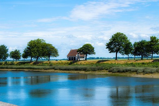 Solitude, House, Water, Sea, Sky, Building, Nature