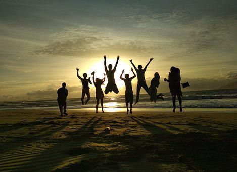 Sunset, Friends, People, Happy, Silhouette