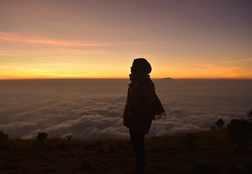 Woman, Silhouette, Hiking, Sunrise, Mountain, Merbabu